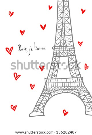 Paris, I love you. Hand drawn Eiffel  among hearts. - stock vector