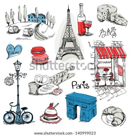 Paris Illustration Set - for design and scrapbook - in vector - stock vector