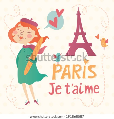 Paris je t'aime vector card. Illustration of cute french girl holding a baguette. - stock vector