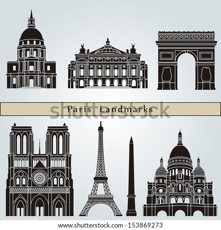 Paris landmarks and monuments isolated on blue background in editable vector file - stock vector
