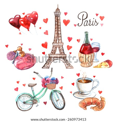 Paris love romance heart symbols icons composition with eiffel tower and red wine watercolor abstract vector illustration - stock vector