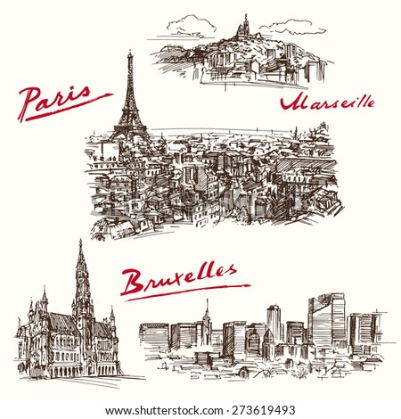Paris, Marseilles, Brussels - hand drawn set - stock vector