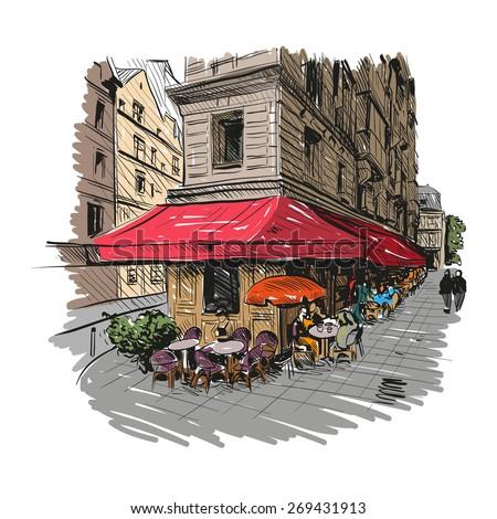 Paris outdoor cafe, vector illustration - stock vector