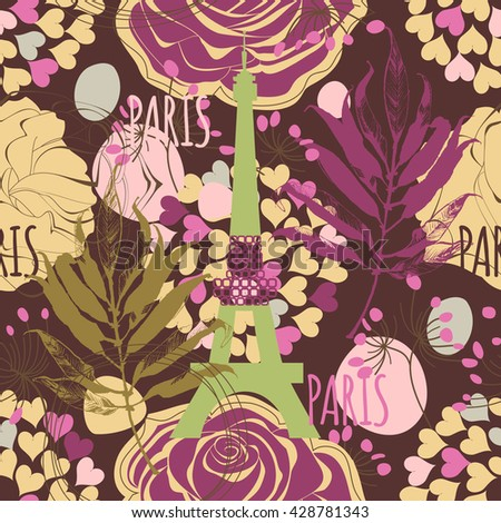 Paris seamless pattern, Eiffel tower, roses and hearts - stock vector