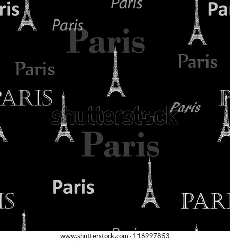 Paris Seamless pattern vector background - stock vector