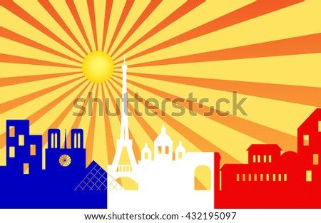 Paris skyline behind sun ray with French flag , Vector illustration - stock vector