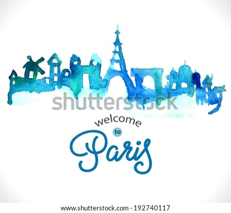 Paris skyline watercolor background with text, VECTOR - stock vector