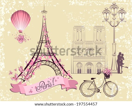 Paris symbols and landmarks. Romantic postcard from Paris. Vector set - stock vector
