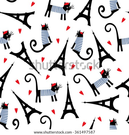 Paris symbols seamless pattern. Cute cartoon parisian cat and  tour Eiffel vector illustration. Romantic travel in Paris.  French style dressed cat with red beret and striped frock. - stock vector