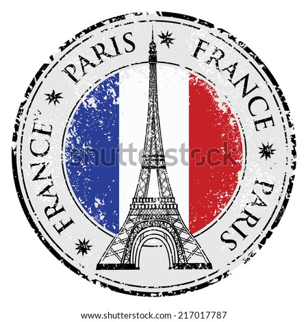 Paris town in France grunge flag stamp, eiffel tower vector illustration - stock vector