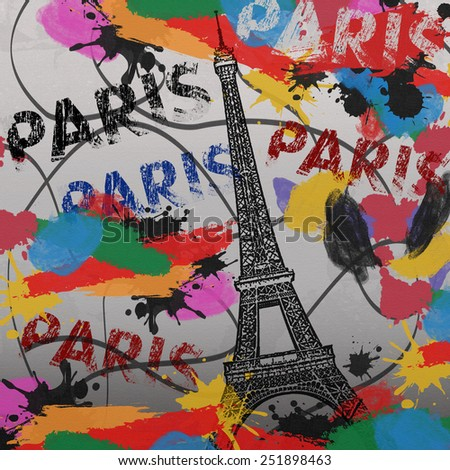Paris vintage grunge poster with colored splash on canvas background, vector illustration - stock vector