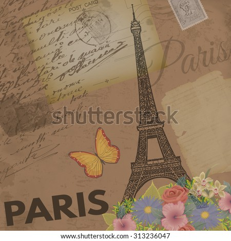 Paris vintage poster on nostalgic retro background with old post cards, letters and Eiffel Tower, vector illustration - stock vector