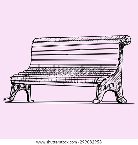 park bench, doodle style, sketch illustration - stock vector