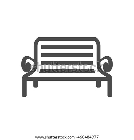 Park bench icon in single grey color. Recreation relaxation waiting - stock vector