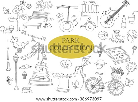 Park doodles collection. Different trees, bench, ice-cream, fountain, bush, guitar, drinking, ball, bicycle etc. - stock vector