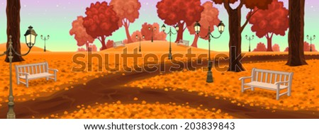 Park with benches and street lamps. Cartoon vector illustration - stock vector
