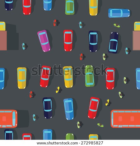 Parking and cars. Top view.Vector illustrations. Seamless Background - stock vector