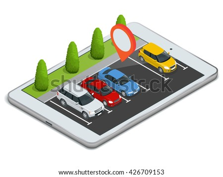 Parking lot displayed on laptop. 3d isometric illustration of car park location on tablet. - stock vector