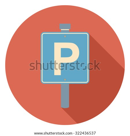 parking sign flat icon in circle - stock vector