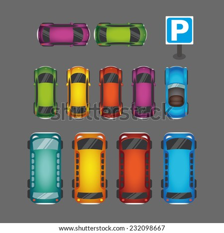 Parking space background with set of various vector cars, top view position - stock vector