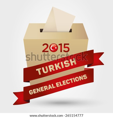 Parliamentary elections in Turkey 2015 Badge Turkish Flag symbol and Ballot Box in a white background - stock vector