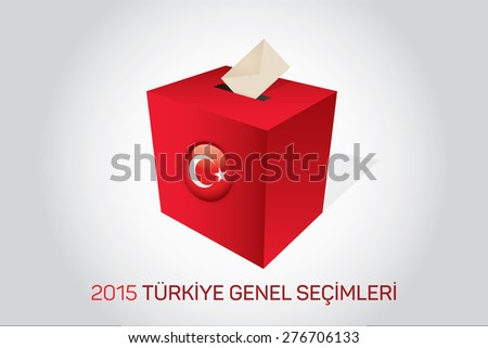 Parliamentary elections in Turkey 2015. English: Turkey General Elections. Red Ballot Box - Turkish Flag Symbol, White Background - stock vector