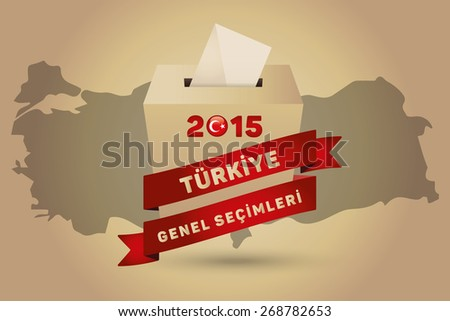Parliamentary elections in Turkey 2015. English: Turkey General Elections. Turkey Map and Ballot Box - Turkish Flag Symbol, Gold Background - stock vector