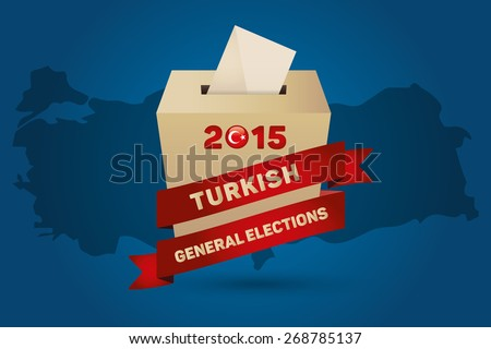 Parliamentary elections in Turkey 2015. Turkey Map and Ballot Box - Turkish Flag Symbol, Cyan Background - stock vector