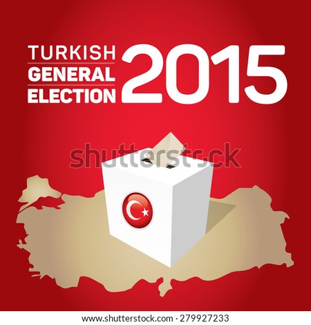 Parliamentary elections in Turkey 2015. Turkey Map and Ballot Box - Turkish Flag Symbol, Red Background - stock vector