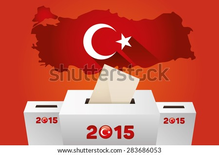 Parliamentary elections in Turkey 2015.Turkey Map and white Ballot Box - Turkish Flag Symbol, Orange Background - stock vector