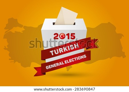 Parliamentary elections in Turkey 2015. Turkey Map and White Ballot Box - Turkish Flag Symbol, Yellow Background - stock vector