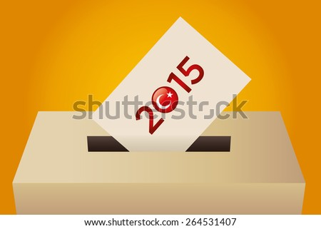 Parliamentary elections in Turkey 2015. Turkish Flag symbol and Ballot Box detail in a yellow background - stock vector