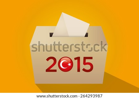 Parliamentary elections in Turkey 2015. Turkish symbol and gold election ballot box for collecting votes in a yellow background. - stock vector
