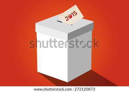 Parliamentary elections in Turkey 2015. Turkish symbol and white election ballot box for collecting votes in a orange background. - stock vector