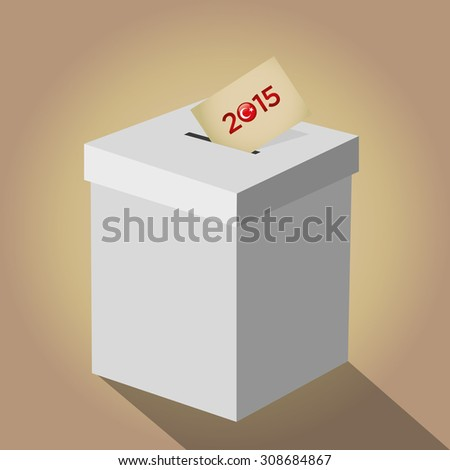 Parliamentary elections in Turkey 2015. Turkish symbol and white election ballot box for collecting votes in a gold background. - stock vector