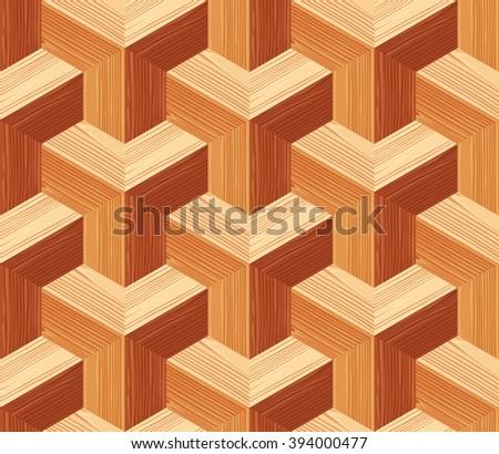 Parquet 3d seamless floor texture. Editable vector pattern in swatches. - stock vector