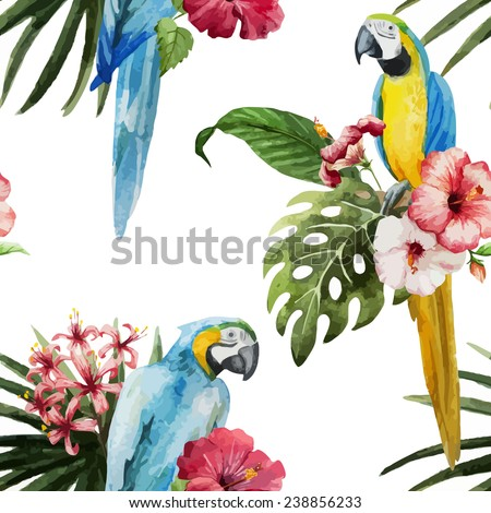 parrot, flowers, pattern - stock vector