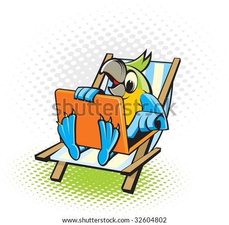 Parrot on a beach with the computer - stock vector