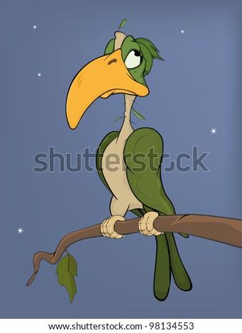 Parrot on a tree. Cartoon - stock vector