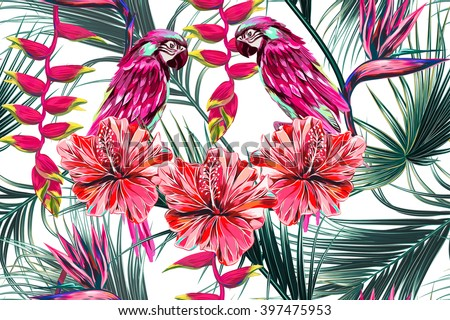 Parrots, tropical flowers, palm leaves, hibiscus, bird of paradise flower, jungle, beautiful seamless vector floral summer pattern background - stock vector