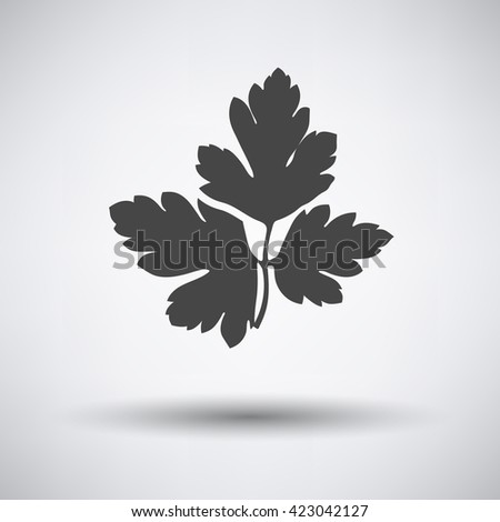 Parsley icon on gray background with round shadow. Vector illustration.  - stock vector