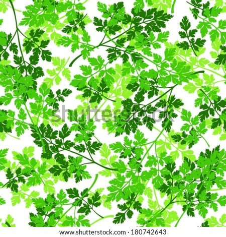 Parsley seamless pattern, layered nature background, vector - stock vector