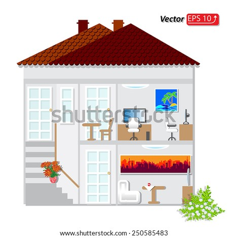 part of architectural project. Home Building Architecture Blueprint Layout Detailed architectural plan. EPS10 vector illustration - stock vector