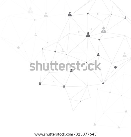Particles and human connection on the white background - stock vector