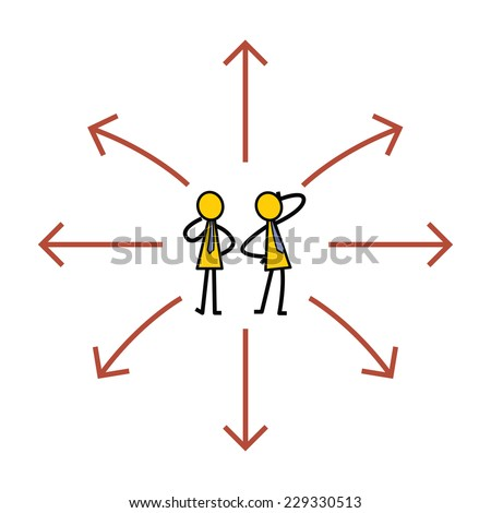 Partner of businessman being confused with too many directions, presenting with arrows, to make decision. Simple character design. - stock vector