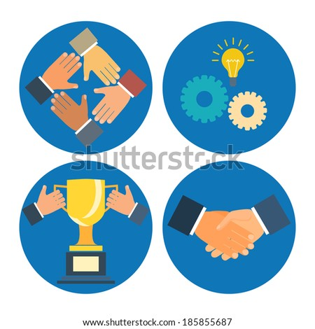 partnership concepts business illustration: assistance, cooperation, collaboration and success - stock vector