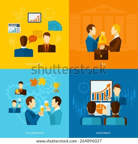 Partnership design concept set with negotiations deal collaboration investment flat icons isolated vector illustration - stock vector