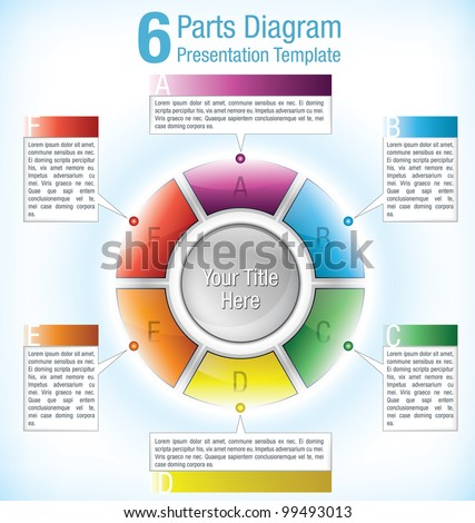 Parts diagram of a color coded segmented wheel with text information boxes for use as a template in presentations - stock vector