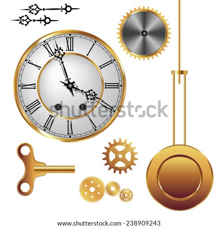 Parts of clock mechanism isolated on white background. Vector illustration - stock vector