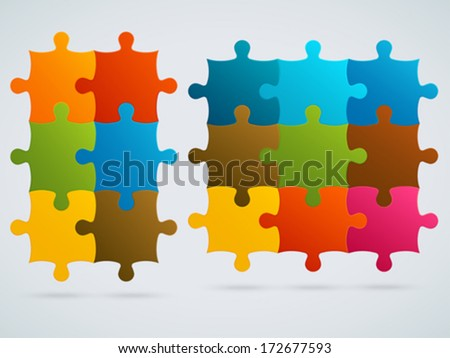 Parts of colorful puzzles. Set of 9, 6 vector pieces - stock vector